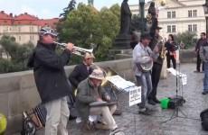 Performers on the Charles Bridge in Prague