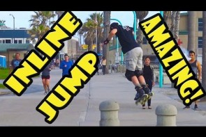 Awesome Inline Skating Jump Stunt Trick at Pacific Beach